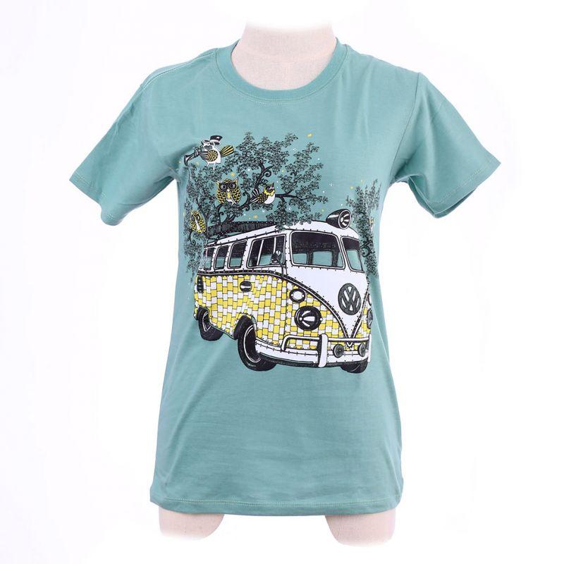 T-shirt damski Hippies Bus Green Thailand