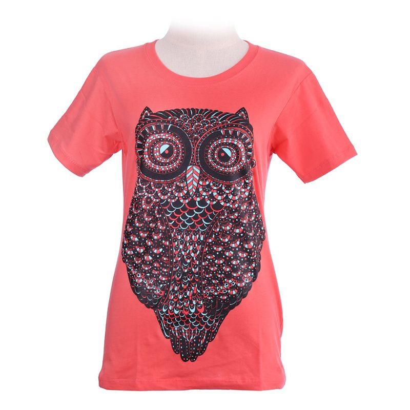 Koszulka damska Duża Sowa Różowa