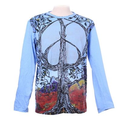 Niebieska koszulka Tree of Peace - długi rękaw