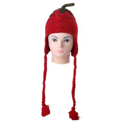 Wełniana czapka Strawberry z pomponami | M