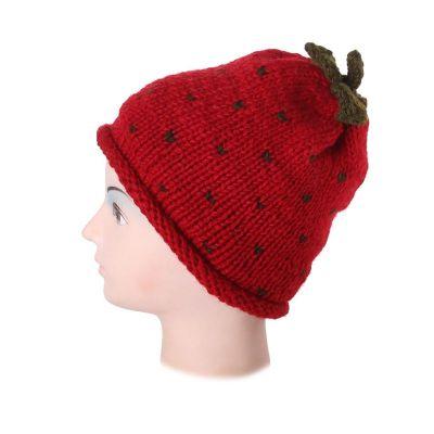 Wełniana czapka Strawberry bez pomponów | M